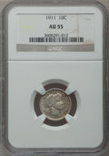 Barber Dimes: , 1911 10C AU55 NGC. NGC Census: (16/796). PCGS Population (26/962).Mintage: 18,870,544. Numismedia Wsl. Price for problem f...