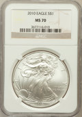 Modern Bullion Coins, 2010 $1 Silver Eagle MS70 NGC. NGC Census: (4403). PCGS Population(45870). Numismedia Wsl. Price for problem free NGC/PCG...