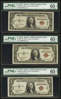 Small Size:World War II Emergency Notes, Fr. 2300 $1 1935A Hawaii Silver Certificates. Three Examples. PMG Gem Uncirculated 65 EPQ.. ... (Total: 3 notes)