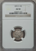 Barber Dimes: , 1893-S 10C AU50 NGC. NGC Census: (3/115). PCGS Population (5/137).Mintage: 2,491,401. Numismedia Wsl. Price for problem fr...