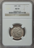 Barber Quarters: , 1893 25C AU55 NGC. NGC Census: (10/241). PCGS Population (24/308).Mintage: 5,444,815. Numismedia Wsl. Price for problem fr...
