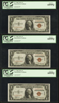 Small Size:World War II Emergency Notes, Fr. 2300 $1 1935A Hawaii Silver Certificates. Three Consecutive Examples. PCGS Gem New 65PPQ.. ... (Total: 3 notes)