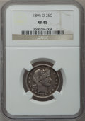 Barber Quarters: , 1895-O 25C XF45 NGC. NGC Census: (3/90). PCGS Population (11/118).Mintage: 2,816,000. Numismedia Wsl. Price for problem fr...