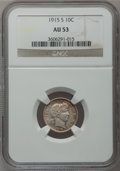 Barber Dimes: , 1915-S 10C AU53 NGC. NGC Census: (2/116). PCGS Population (4/150).Mintage: 960,000. Numismedia Wsl. Price for problem free...