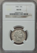 Barber Quarters: , 1906 25C AU55 NGC. NGC Census: (11/164). PCGS Population (10/242).Mintage: 3,656,435. Numismedia Wsl. Price for problem fr...