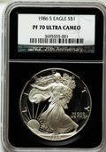 Modern Bullion Coins, 1986-S $1 Silver Eagle PR70 Ultra Cameo NGC. Ex: 25th AnniversaryHolder. NGC Census: (1126). PCGS Population (526). Mintag...