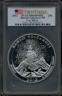 2012 25C Hawaii Volcanoes Five-Ounce Silver, First Strike MS69 Deep Mirror Prooflike PCGS. PCGS Population (448/0). NGC...