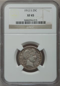 Barber Quarters: , 1912-S 25C XF45 NGC. NGC Census: (1/75). PCGS Population (2/118).Mintage: 708,000. Numismedia Wsl. Price for problem free ...