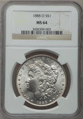 Morgan Dollars: , 1888-O $1 MS64 NGC. NGC Census: (9084/1364). PCGS Population(6829/1940). Mintage: 12,150,000. Numismedia Wsl. Price for pr...