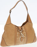 Luxury Accessories:Bags, Gucci Beige Leather and Suede Jackie Shoulder Bag with MirroredStuds. ...