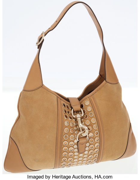 07b3dd1b53 Gucci Beige Leather and Suede Jackie Shoulder Bag with