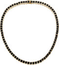 Estate Jewelry:Necklaces, Black Onyx, Gold Necklace. ...
