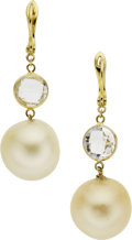 Estate Jewelry:Earrings, Cultured Pearl, Beryl, Gold Earrings. ...