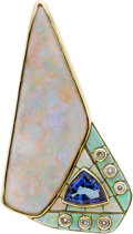 Estate Jewelry:Pendants and Lockets, Opal, Tanzanite, Diamond, Gold Pendant, David R. Freeland Jr.. ...