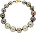 Estate Jewelry:Pearls, South Sea Cultured Pearl, Gold Bracelet. ...
