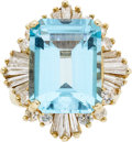 Estate Jewelry:Rings, Blue Topaz, Diamond, Gold Ring. ...