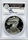 Modern Bullion Coins, 2001-W $1 One Ounce Silver Eagle Insert autographed By John M.Mercanti,12th Chief Engraver of the U.S. Mint, PR70 Ultra Came...