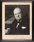 Autographs:Non-American, Winston Churchill Inscribed Photograph Signed to Admiral Ernest J. King....