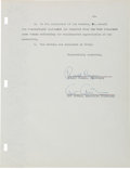 Autographs:U.S. Presidents, Ronald Reagan Typed Document Signed...