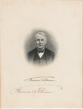 Autographs:Inventors, Thomas Alva Edison Engraved Portrait Signed....