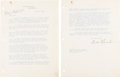 Autographs:U.S. Presidents, Franklin D. Roosevelt Typed Letter Signed.... (Total: 2 Items)