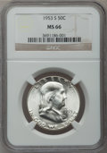 Franklin Half Dollars: , 1953-S 50C MS66 NGC. NGC Census: (508/8). PCGS Population (548/2).Mintage: 4,148,000. Numismedia Wsl. Price for problem fr...