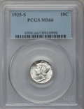 Mercury Dimes: , 1935-S 10C MS66 PCGS. PCGS Population (145/30). NGC Census:(119/23). Mintage: 15,840,000. Numismedia Wsl. Price for proble...