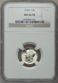 Mercury Dimes: , 1944 10C MS66 Full Bands NGC. NGC Census: (188/60). PCGS Population(439/80). Mintage: 231,410,000. Numismedia Wsl. Price f...