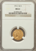 Indian Quarter Eagles: , 1912 $2 1/2 MS61 NGC. NGC Census: (1918/4214). PCGS Population(417/2359). Mintage: 616,000. Numismedia Wsl. Price for prob...