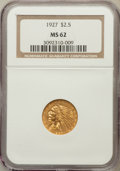 Indian Quarter Eagles: , 1927 $2 1/2 MS62 NGC. NGC Census: (4851/6757). PCGS Population(2631/5068). Mintage: 388,000. Numismedia Wsl. Price for pro...