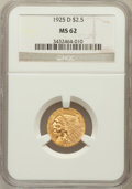 Indian Quarter Eagles: , 1925-D $2 1/2 MS62 NGC. NGC Census: (6193/8892). PCGS Population(3499/5878). Mintage: 578,000. Numismedia Wsl. Price for p...