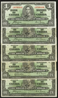 Canadian Currency: , $1 1937 Notes.. ... (Total: 5 notes)