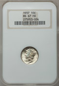 Mercury Dimes: , 1937 10C MS67 Full Bands NGC. NGC Census: (486/15). PCGS Population(732/39). Mintage: 56,865,756. Numismedia Wsl. Price fo...