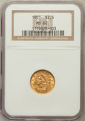 Liberty Quarter Eagles: , 1901 $2 1/2 MS62 NGC. NGC Census: (580/1353). PCGS Population(433/1232). Mintage: 91,100. Numismedia Wsl. Price for proble...