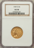 Indian Half Eagles: , 1909-D $5 AU58 NGC. NGC Census: (3154/26633). PCGS Population(2491/25126). Mintage: 3,423,560. Numismedia Wsl. Price for p...