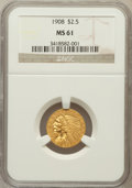 Indian Quarter Eagles: , 1908 $2 1/2 MS61 NGC. NGC Census: (1531/5964). PCGS Population(383/4540). Mintage: 564,800. Numismedia Wsl. Price for prob...