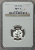 Mercury Dimes: , 1945-S 10C MS66 Full Bands NGC. NGC Census: (152/113). PCGSPopulation (446/110). Mintage: 41,920,000. Numismedia Wsl. Pric...