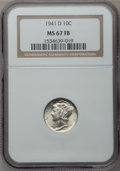 Mercury Dimes: , 1941-D 10C MS67 Full Bands NGC. NGC Census: (443/5). PCGSPopulation (544/23). Mintage: 46,634,000. Numismedia Wsl. Pricef...