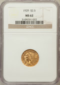 Indian Quarter Eagles: , 1929 $2 1/2 MS62 NGC. NGC Census: (7209/8520). PCGS Population(4147/5339). Mintage: 532,000. Numismedia Wsl. Price for pro...