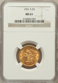 Liberty Half Eagles: , 1901-S $5 MS61 NGC. NGC Census: (1169/4878). PCGS Population(672/4035). Mintage: 3,648,000. Numismedia Wsl. Price for prob...