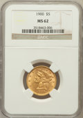Liberty Half Eagles: , 1900 $5 MS62 NGC. NGC Census: (5717/5267). PCGS Population(3115/3361). Mintage: 1,405,730. Numismedia Wsl. Price for probl...