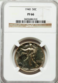 Proof Walking Liberty Half Dollars: , 1940 50C PR66 NGC. NGC Census: (763/386). PCGS Population(797/317). Mintage: 11,279. Numismedia Wsl. Price for problemfre...