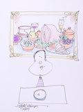 Mainstream Illustration, SIGNE WILKINSON (American, b. 1959). Doodle for Hunger,2007. Ink and conte crayon on paper. 9 x 12 in.. Signed lower l...
