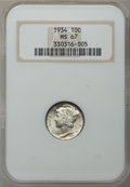 Mercury Dimes: , 1934 10C MS67 NGC. NGC Census: (30/1). PCGS Population (7/0).Mintage: 24,080,000. Numismedia Wsl. Price for problem free N...