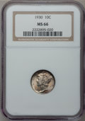 Mercury Dimes: , 1930 10C MS66 NGC. NGC Census: (30/1). PCGS Population (48/8).Mintage: 6,770,000. Numismedia Wsl. Price for problem free N...