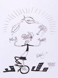 Mainstream Illustration, KEITH KNIGHT (American, 1946). Doodle for Hunger, 2009. Inkon paper. 9 x 12 in.. Signed. Benefiting St. Francis Foo...