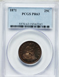 Proof Seated Quarters: , 1871 25C PR63 PCGS. PCGS Population (37/41). NGC Census: (29/55).Mintage: 960. Numismedia Wsl. Price for problem free NGC/...
