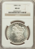 Morgan Dollars: , 1888-S $1 MS62 NGC. NGC Census: (724/1929). PCGS Population(1120/3752). Mintage: 657,000. Numismedia Wsl. Price for proble...