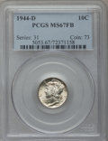 Mercury Dimes: , 1944-D 10C MS67 Full Bands PCGS. PCGS Population (1169/78). NGCCensus: (1183/20). Mintage: 62,224,000. Numismedia Wsl. Pri...