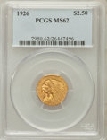 Indian Quarter Eagles: , 1926 $2 1/2 MS62 PCGS. PCGS Population (3046/6341). NGC Census:(5654/8261). Mintage: 446,000. Numismedia Wsl. Price for pr...
